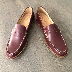 Sperry Leather Penny Loafer Shoes Maroon Size 9